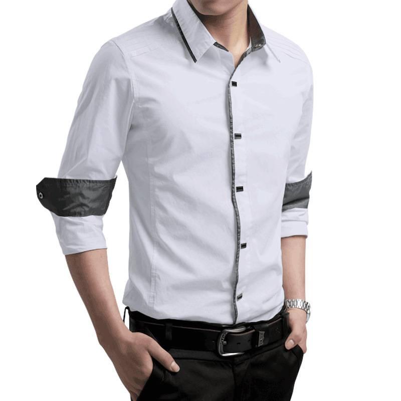 海谜璃 时尚长袖衬衣男士英伦长袖衬衫修身纯棉衬衫男士休闲潮HB8048