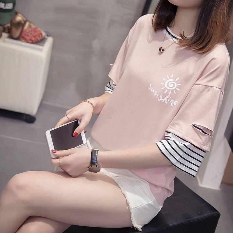 FENGMI2019夏季新款韩版女士破洞假两件半袖T恤JY-2802#