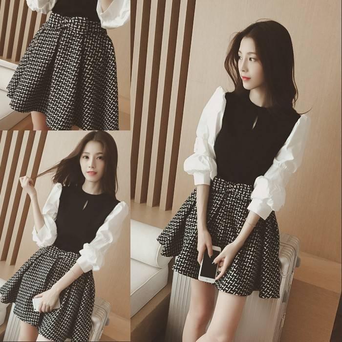2019春新款韩版甜美时尚灯笼袖圆领T恤格子系带a字裙套装两件套