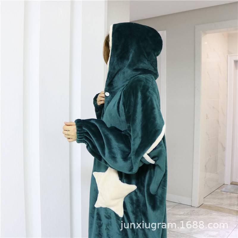 行走的被子星星袍睡衣男女秋冬加厚法兰绒长款连帽开衫睡袍胖人