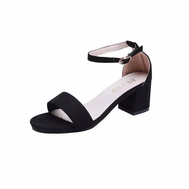 2019夏季新款中跟鞋女鞋粗跟露趾绒面性感一字扣带女凉鞋罗马鞋潮