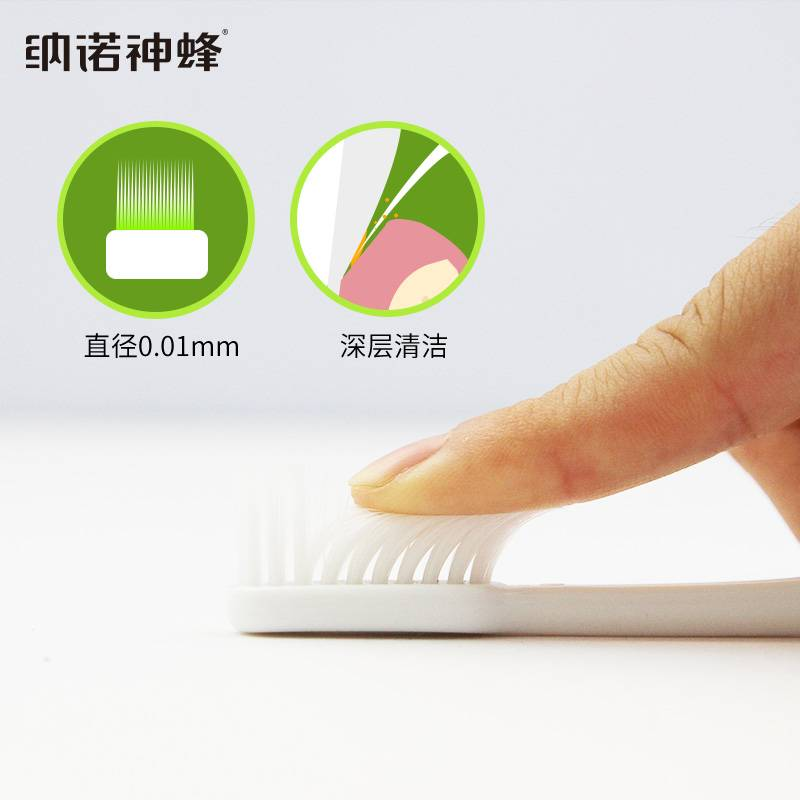 【独立包装】纳诺神蜂双色细柔软毛10支送10支共20支装牙刷牙膏